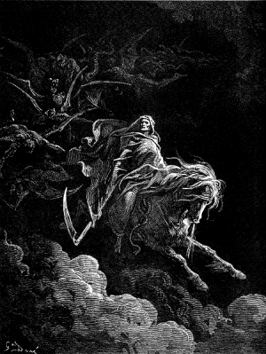"""Death rides into the world. He is the fourth knight of the apocalypse. Hell follows him.""(1865), Artist: Paul Gustave Dore (Jan 6, 1832 - Jan 23, 1883)"